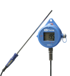 TV-4104 Tinytag View 2 high temperature data logger with digital display attached to a PT100 probe