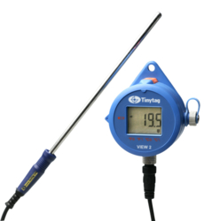 TV-4510 Tinytag View 2 dual channel temperature data logger with digital display attached to a thermistor probe